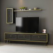 طاولة تلفاز اسود رخامي مع ذهبي VALV