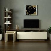 طاولة تلفزيون SHTV06 بني وبيج مع 3طاولات خدمة