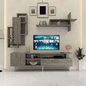 طاولة تلفزيون SHTV17 ابيض ورمادي