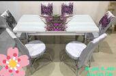 طاولةطعام6كراسي جديدبالكرتون زجاج صناعةتركية
