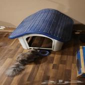 بيت كلاب أو قطط قوي من الفيبر لون أزرق وأبيض