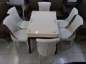 طاولةطعام 6كراسي كراسي جلد فخمة جديدبالكرتون