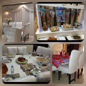 طاولة طعام بيضاء مربعه 12 كرسي مترين في مترين