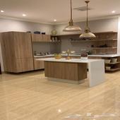 مطبخ خشب وكنب صاله