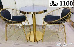 كرسين و طاولة استيل فخامة روعة