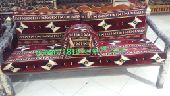 جلسة تراثية شعبية كراسي حديد خشب مجالس مركاز