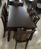 طاولةطعام 8كراسي خشب صناعةماليزي جديدبالكرتون