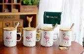 كاسات اكواب قهوة شاهي على شكل طائر فلامينجو