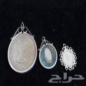 3 قلائد فضة عملات اصلية الملكة اليزابيث وا