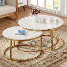 طقم طاوله قهوه 2 قطعه ذهبي بسطح رخام ابيض