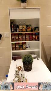 طاولة للمطبخ مع وحدة تخزين للمطبخ قابلة للطي
