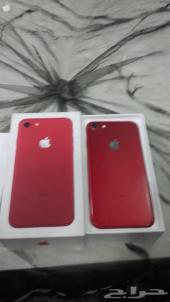 للبيع ايفون 7 128G العادي احمر نضيف فيس تايم
