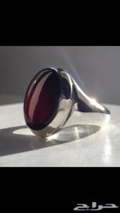 خاتم عقيق يماني بطن أحمر صافي بصياغة اصطنبولي