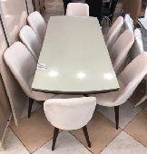 طاولة طعام8كراسي ملكي جديدبالكرتون زجاج تركية