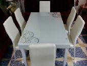 طاولةطعام6كراسي جديدبالكرتون زجاج