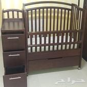 سرير اطفال خشب طبيعي