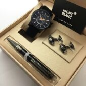 ساعة مونت بلانك جلد سادة فاخرة للرجال
