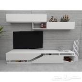 طاولة تلفاز لون ابيض أو بني