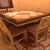طاولة طعام خشب بسطح سراميك ب8كراسي شاملة بوفية من هوم سنتر