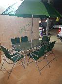 جلسة حديقة 6كراسي ومظلة وطاولة 2 موديل