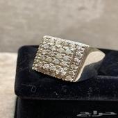 خاتم الماس اصلي طبيعي فاخر متوج 36قطعة الماسه فضه يدويه