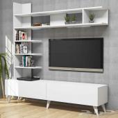 طاولة تلفاز مع وحدة ديكور للتخزين والتزيين NH