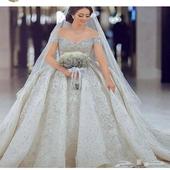 فستان زفاف  مع المسكه والعباة للاجار
