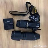 كاميرا نيكون D3100 مع عدستين احترافية نظيفة جدا