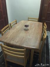 طاولة طعام سفرة خشب 6 كرسي