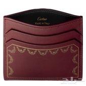 محفظة جلد نسائية عنابي كارتييه أصلي
