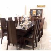 طاولة طعام 8 مقاعد جديدة وطاولة جانبية