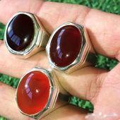 خاتم عقيق يمني طبيعي زجاجيات