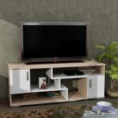 طاولة تلفاز  لونين ابيض مع بيج (جديد)