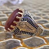خاتم عقيق يماني كبدي فضه مميزه.