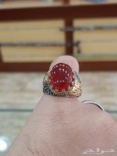 خاتم عقيق يماني احمر رماني
