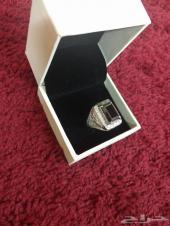 (تم البيع)خاتم فضة بحجر الألماس الاسود