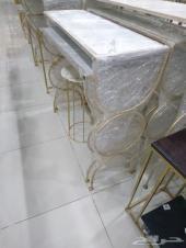 طاولات جاهز وتفصيل رخام وقزاز شفاف وعسلي