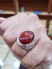 خاتم عقيق يماني احمر انسي