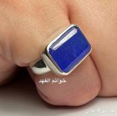 خاتم فضه ملكي فاخر ياقوت أزرق زفير خاتم فخم