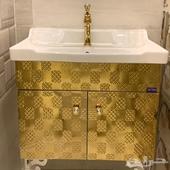 مغسلة ديكور ذهبي جديدة   خلاط كرستال