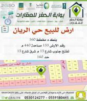 ارض للبيع حي الريان مخطط 160 بلك د