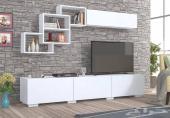 طاولة تلفزيون مع ارفف جدارية مميزة مودرن