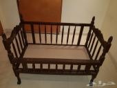 سرير اطفال خشب مع مرتبتين و واقى مرتبة