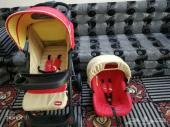 عربةاطفال مع كرسي وسرير اطفال