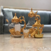 طقم شاهي وقهوه ذهبي