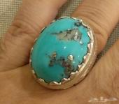 خاتم فضة بحجر  فيروز ايراني