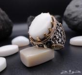 خاتم عقيق يمني أبيض طبيعي