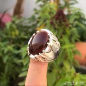 خاتم فضة صياغة يدوية عيار 925 عقيق كبدي يماني للبيع مستعجل