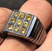 خاتم فضه راقي بااحجار الزفير الاصفرالنادر250