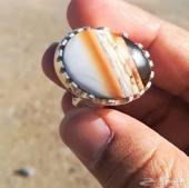 خاتم عقيق يماني جزع طحلبي ملون طبيعيا